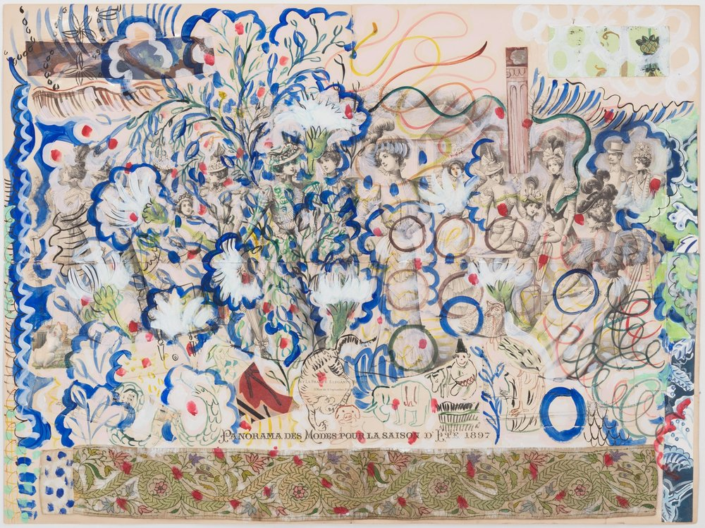 Panorama des modes pour la saison d'Été - 1897, 2017; Gouache and collage on paper; 59 x 78 cm