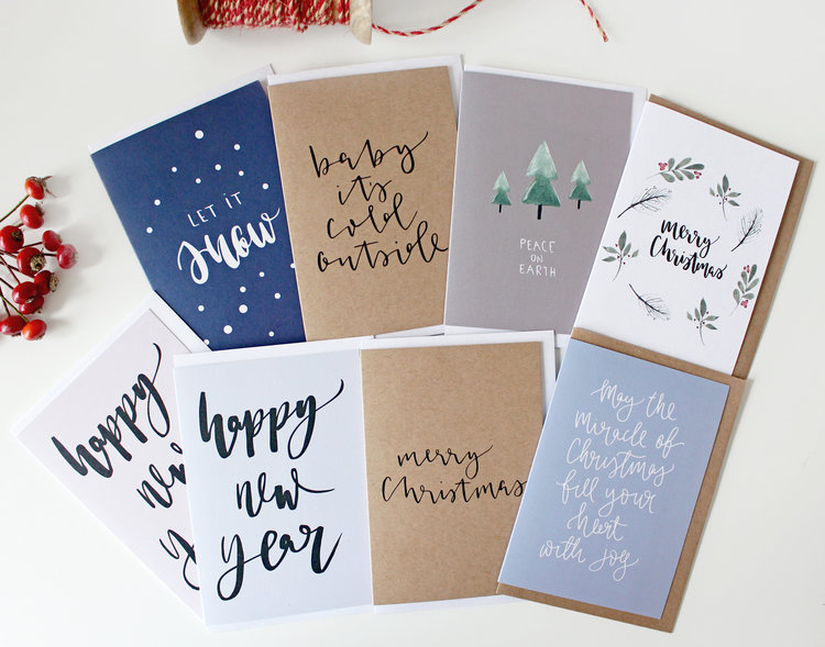 Modern Calligraphy Christmas Cards Creative Feel Hand Lettered