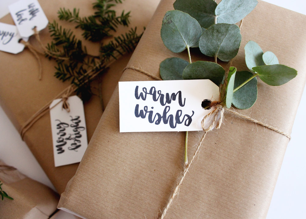 Gift Wrapping Tags Modern Calligraphy
