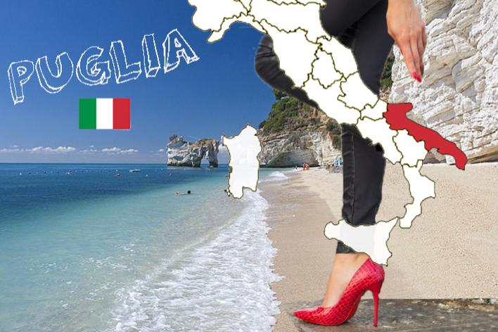A região da Puglia (Apúlia, em português) fica bem no saltinho da bota no mapa da Italia. A praia da foto? Em Mattinata, na província pugliesa de Foggia