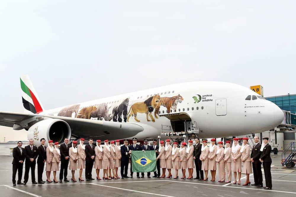 Voo inaugural da Emirates com o A380 para o Brasil