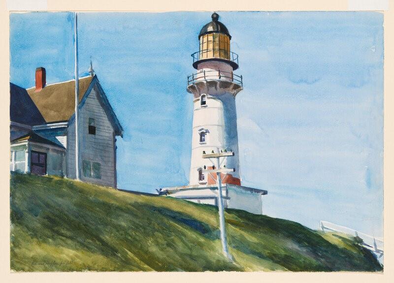 """O pintor Edward Hopper retratou diversas paisagens da Nova Inglaterra. Este farol fica em Cape Elizabeth, no Maine, e a obra se chama """"The Lighthouse at Two Lights"""" (1929)"""