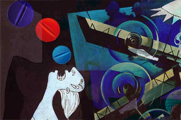 Um pouquinho de Guernica de Picasso aqui, uma pitada de futurismo ali, umas pílulas e bastante desespero de quem precisa de remédios para voar