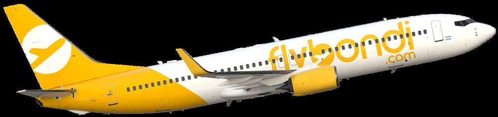 Eis a identidade visual do avião da FlyBondi. Bonito, não? Por enquanto é só um modelo ilustrando como será o real