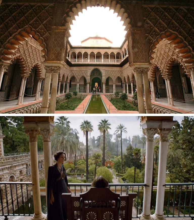 O Alcázar de Sevilha, na Espanha, com sua forte influência árabe, é o lar dos Martell na trama de Game of Thrones (Foto: HBO)