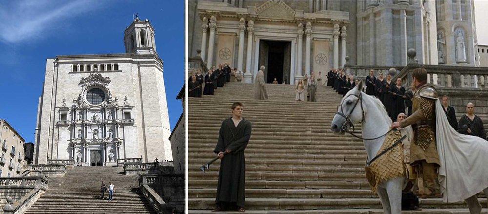 Lembra do Septo de King's Landing? As cenas eram filmadas nas escadarias da Catedral de Girona, na Espanha. A cidade também foi base para as cenas de Arya na sexta temporada (Foto: HBO)