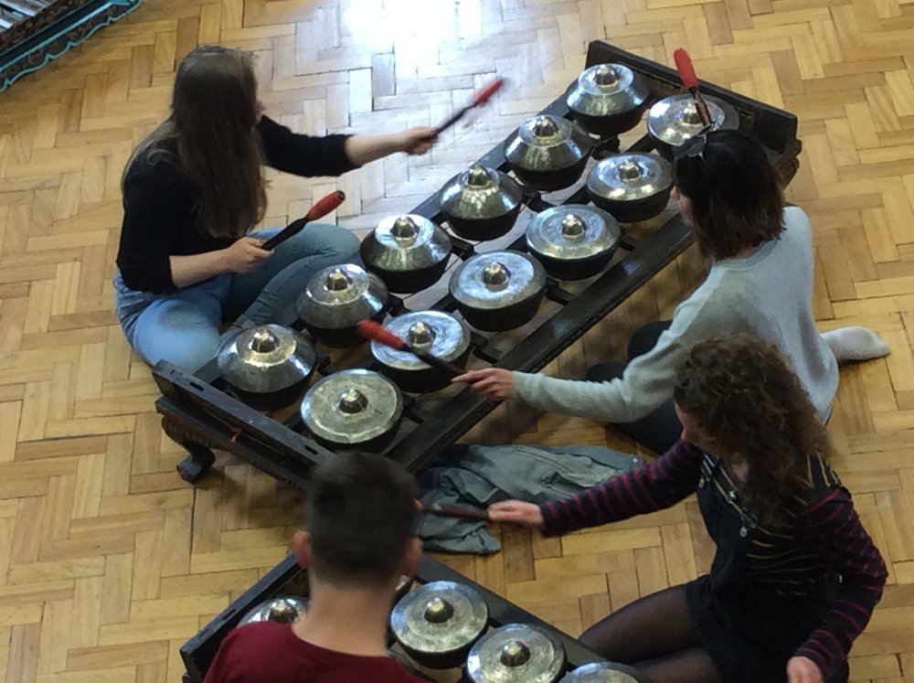 2nd Year students at Oxford Brookes University participating in our Javanese Gamelan Workshop