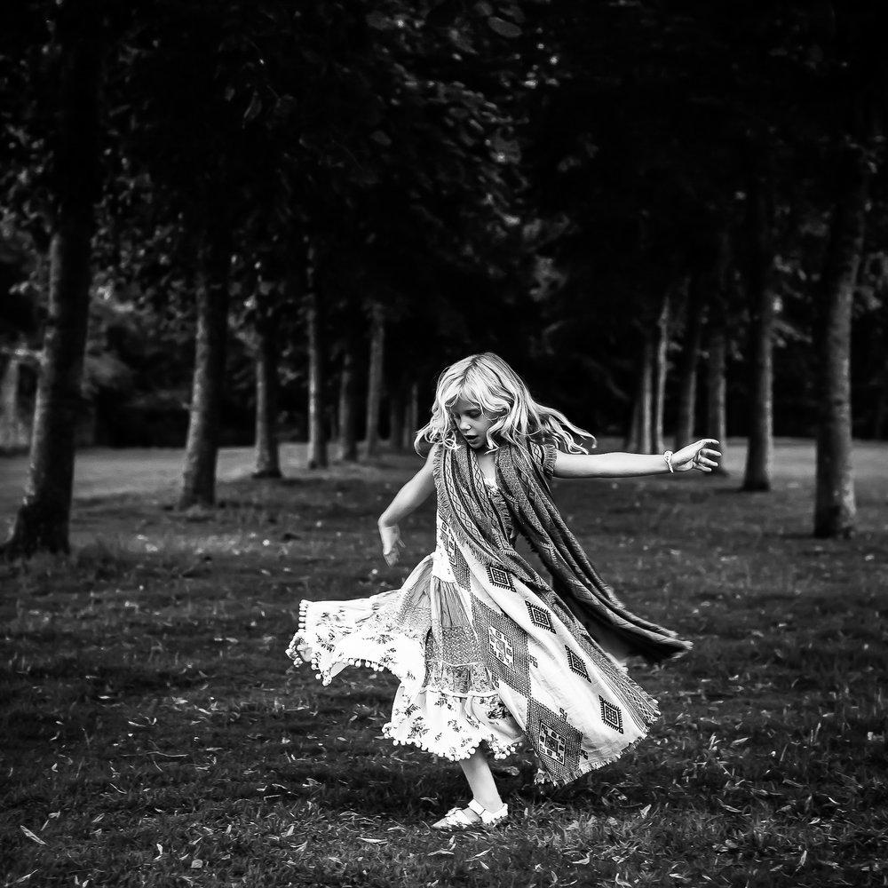 Aberdeen Family Photographer Crathes Castle girl dancing