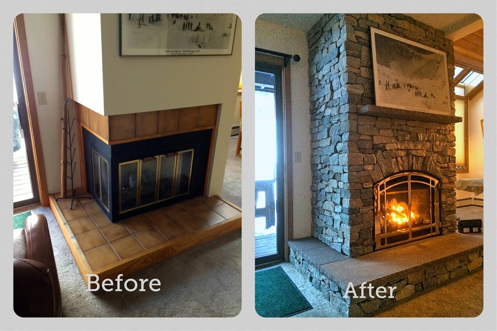 We transformed this outdated wood fireplace into a beautiful gas fireplace with custom stone work
