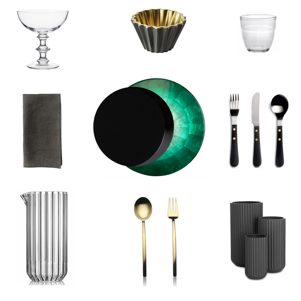Row 1:  Martini glass .  Serving bowl .  Glass tumbler .  Row 2:  Linen napkin .  Black plate .  Green placemat .  Flatware .  Row 3.  Glass pitcher .  Serving spoon and fork .  Ceramic vases .