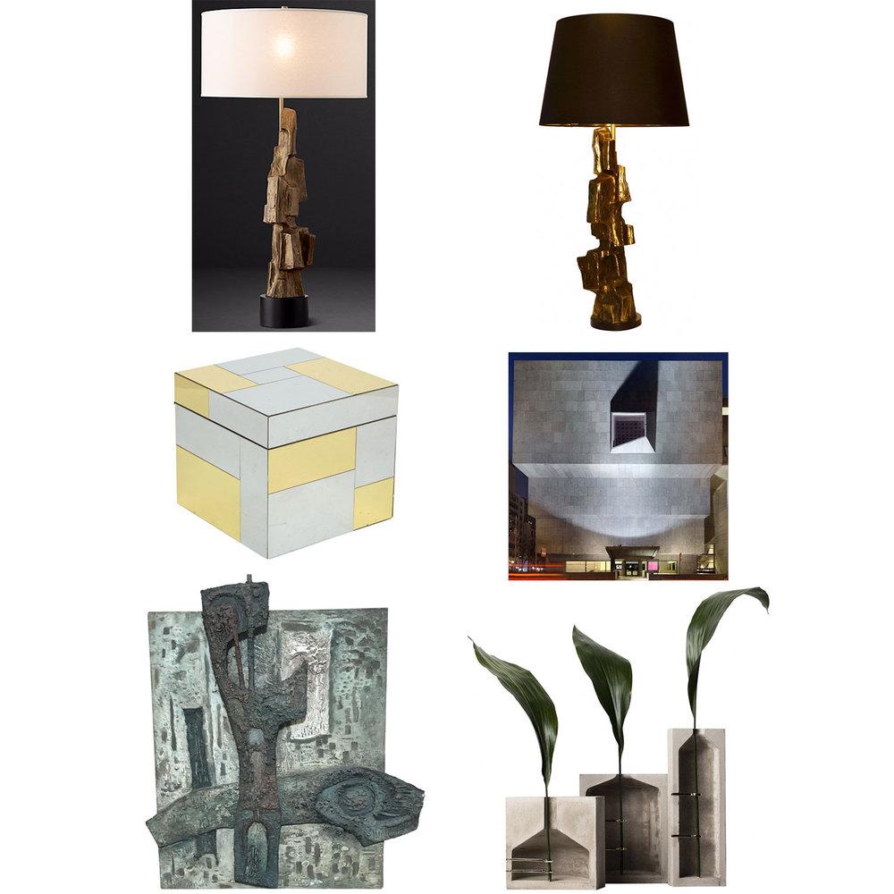 Clockwise from top left: RH Lamp,  Vintage Lamp ,  Ice Bucket ,  Met Breuer Museum ,  Abstract Panel ,  Concrete Vases .