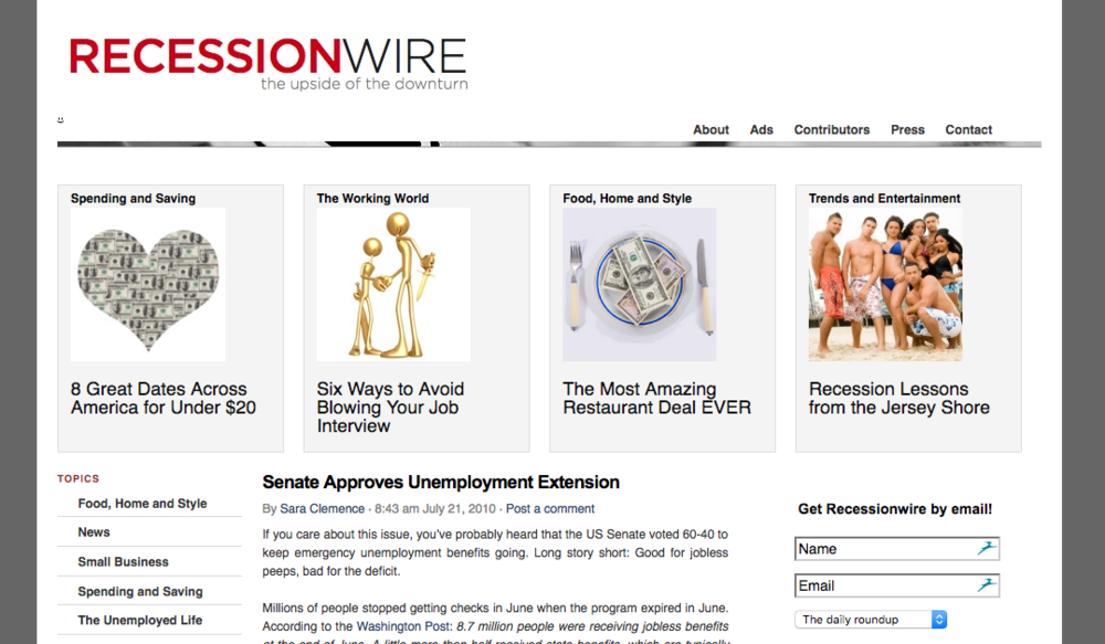 Recessionwire 2010 Homepage