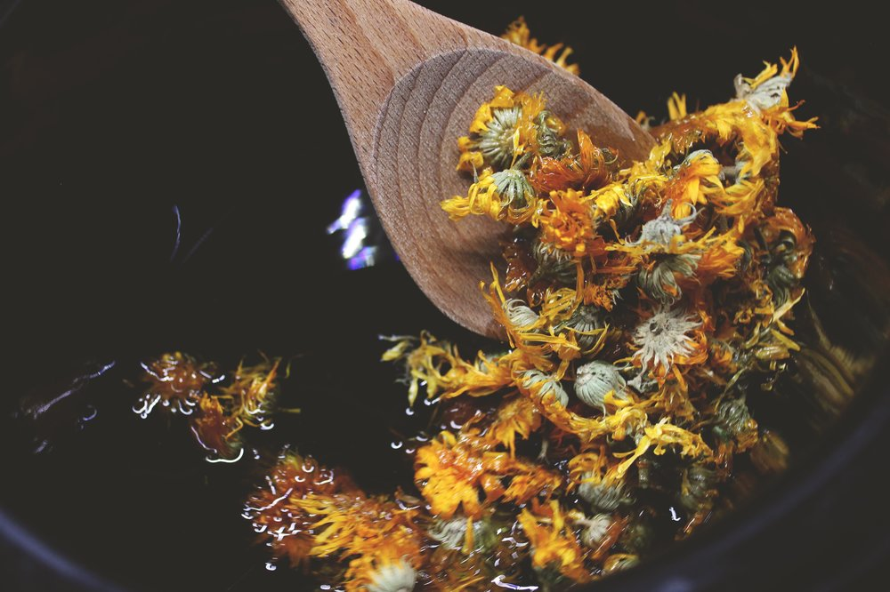 When oil is warmed, stir in calendula blossoms