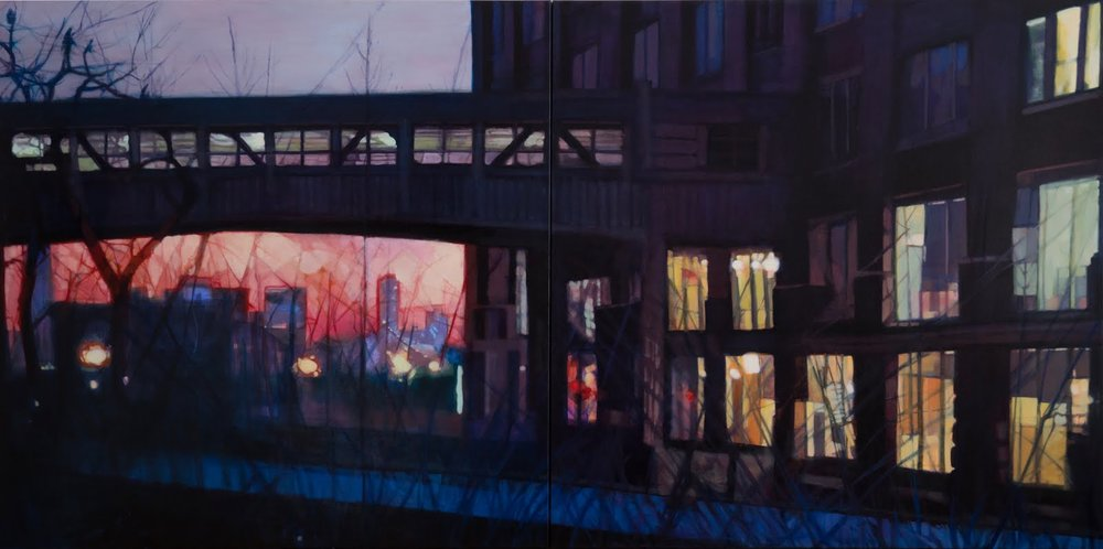 "High Line Overpass, oil on linen diptych, 42"" x 84"""