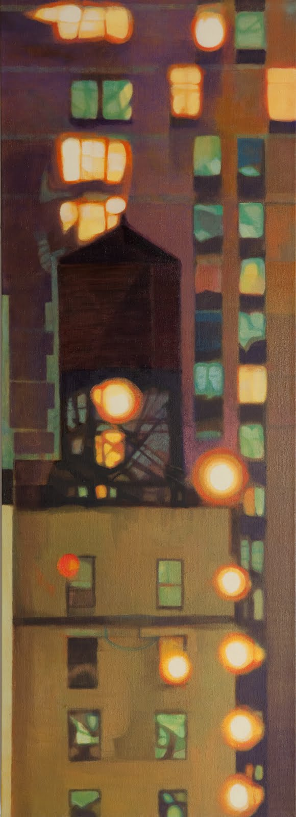 """Watertower Glow"", oil on linen, 50 x 20 x 2.5 in."