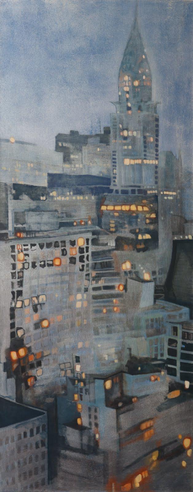 """""""Breaking the Grid (Chrysler Building)"""", oil on linen, 70 x 28 x 2.5 in."""