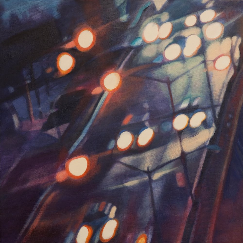 """""""Transition (Traffic)"""",oil on linen, 22 x 22 x 2.5 in."""