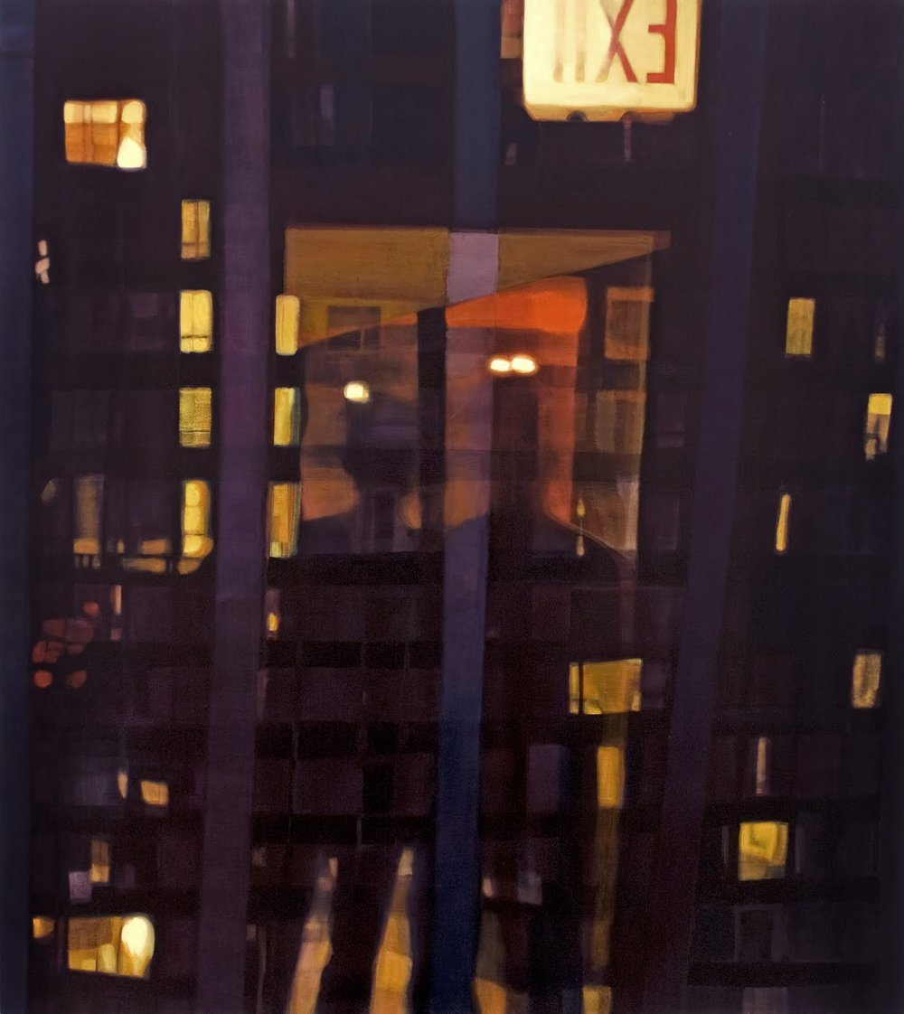 """Exit Reflection (Midtown)"", oil on linen, 54""x 48"""