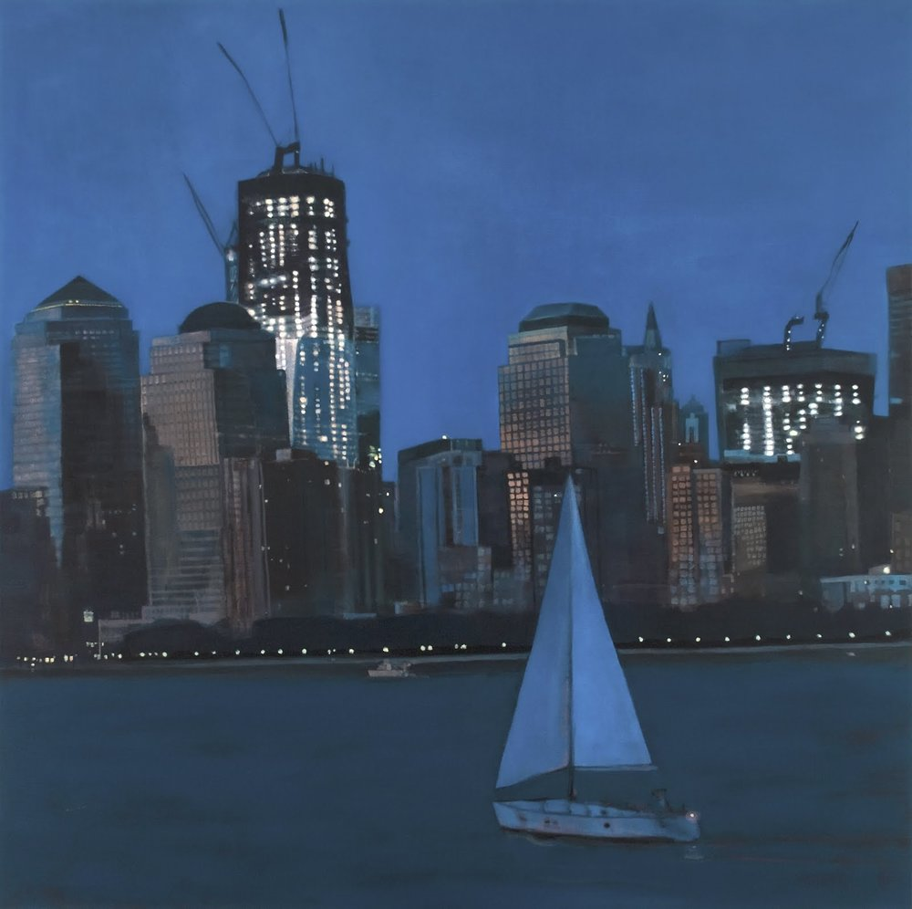 """From the Ferry II (Upper New York Bay)"", oil on linen, 48""x 48"""