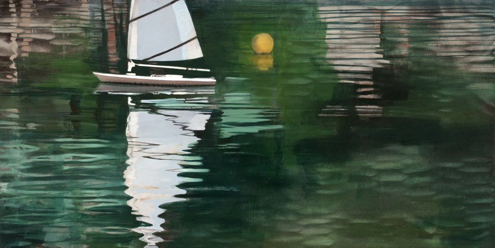 """Setting Sail (Central Park Boat Pond)"", oil on linen, 22""x 44"""