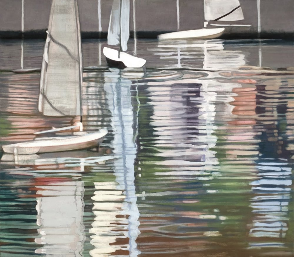 """Wandering Boats (Central Park Boat Pond)"", oil on linen, 28""x 32"""