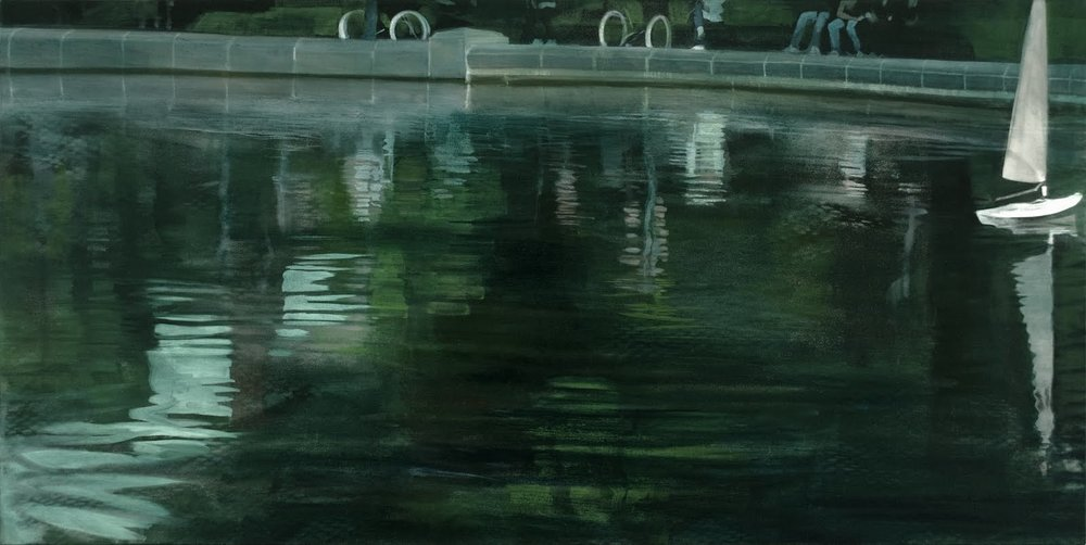 """Echoes Assembled (Central Park Boat Pond)"", oil on linen, 22""x 44"""