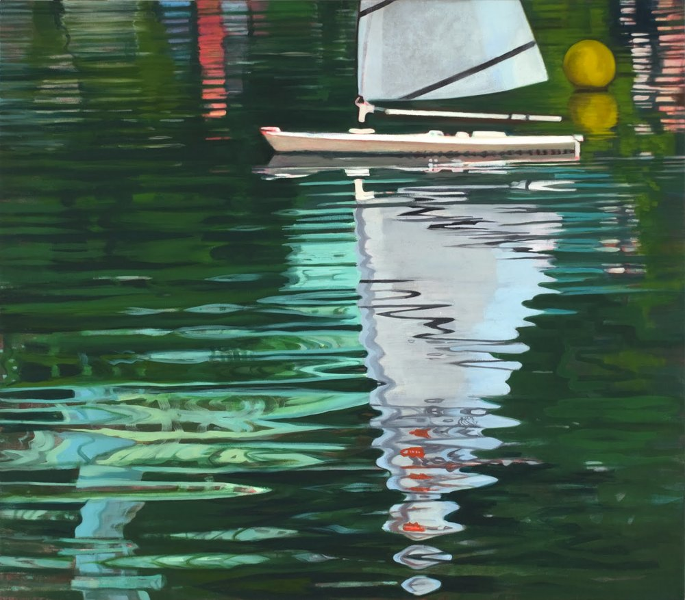 """Sweet Sail (Central Park Boat Pond)"", oil on linen, 28""x 32"""