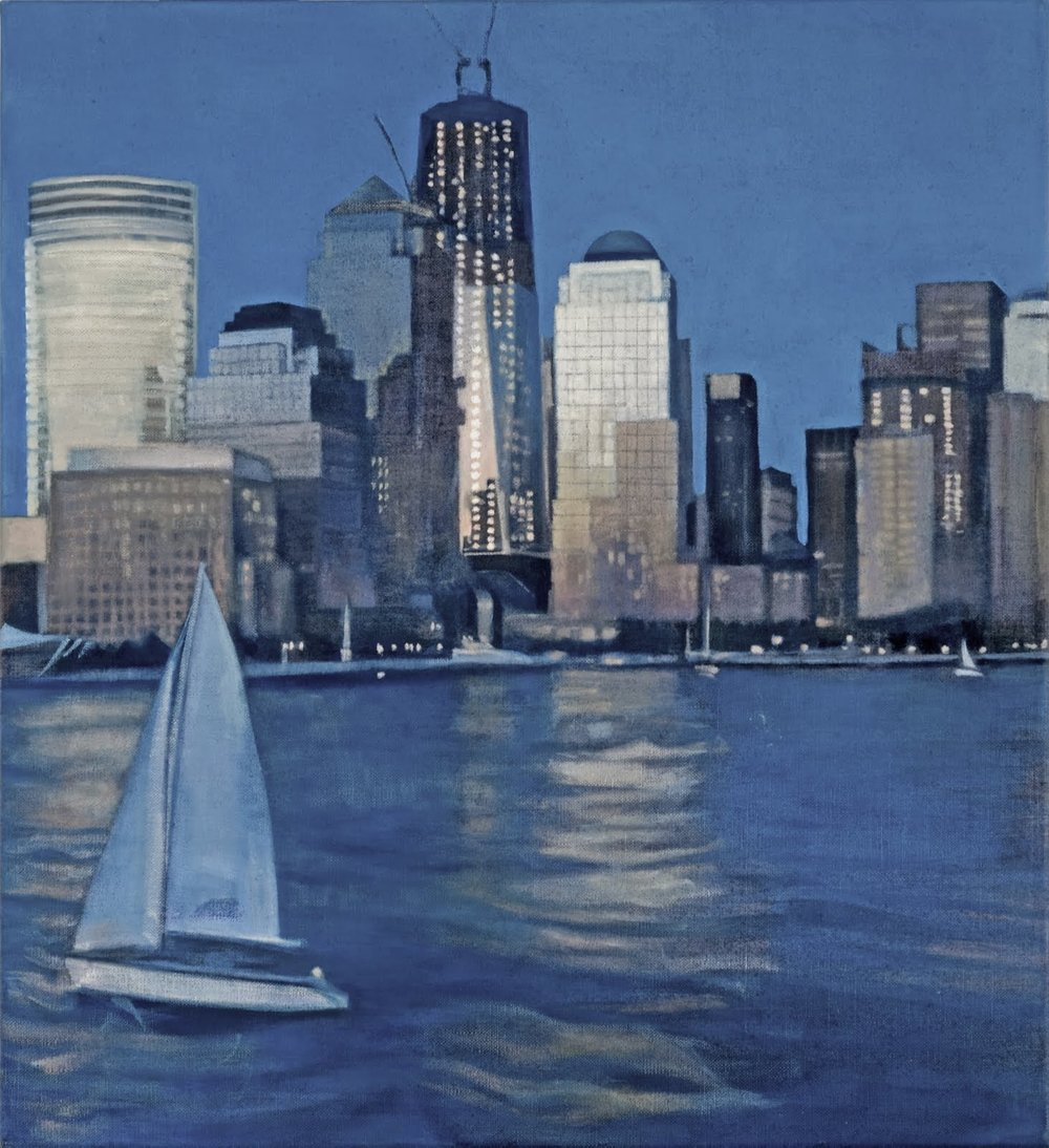 """From the Ferry I (Upper New York Bay)"", oil on linen, 20""x 20"""
