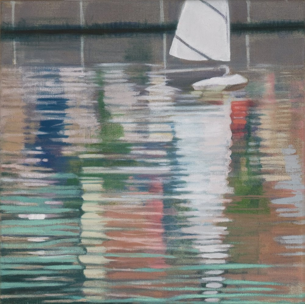 """Model Boat (Central Park)"", oil on linen, 12""x 12"""
