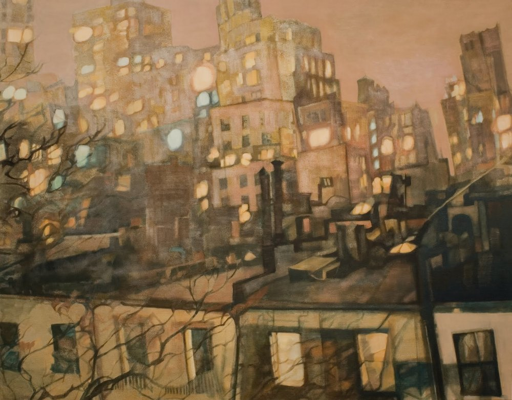 """Looking South (Upper East Side)"", oil on linen,43.5 x 55.5 x 1 in."