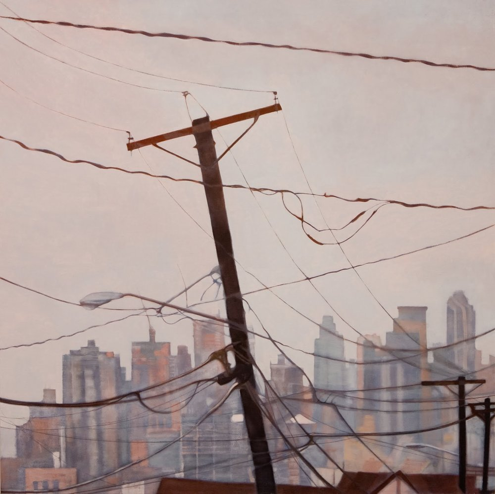 """View from Weehawken"", oil on linen, 44x44x2.5 in."