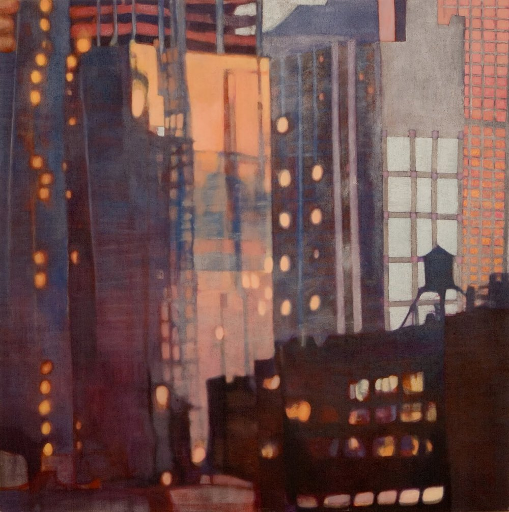 """Under Construction (Midtown)"", oil on linen, 44x44x2.5 in."