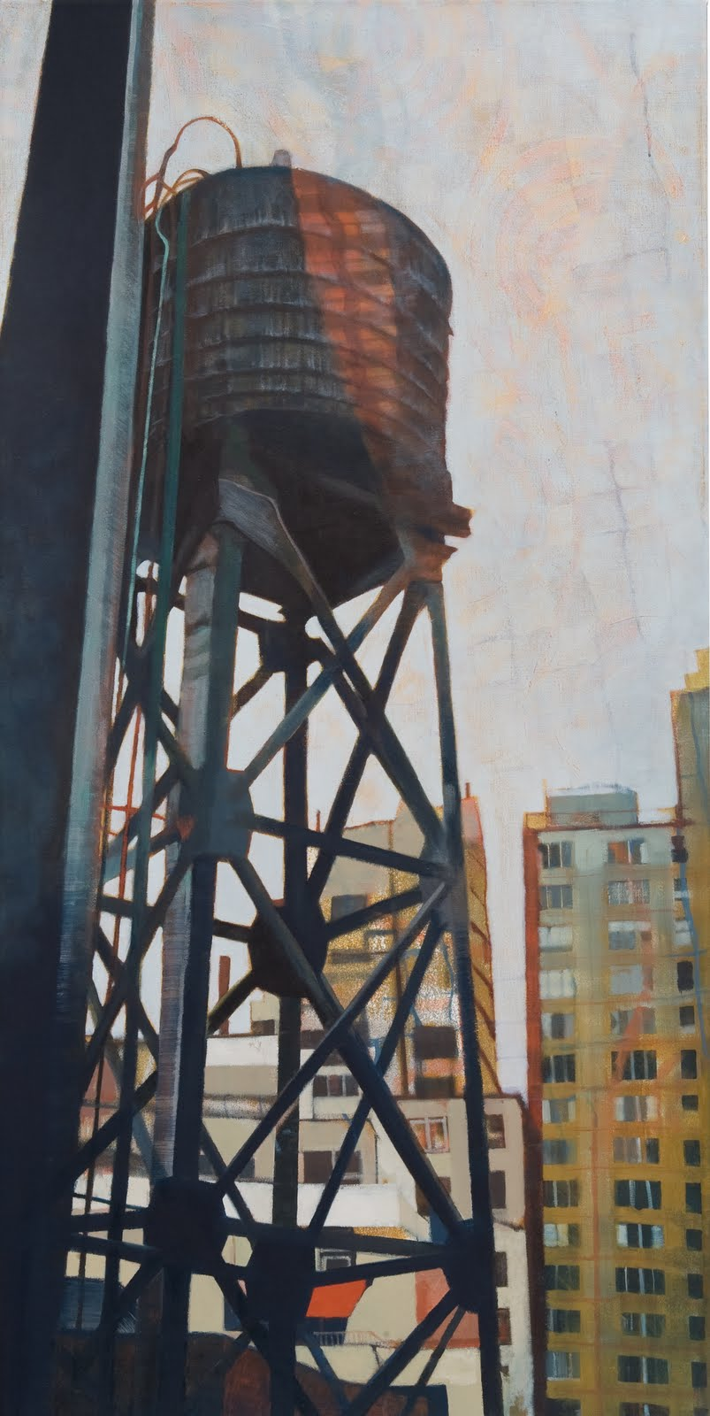 """57th St. Watertower"", oil on linen, 44 x 22 x 2.5 in."