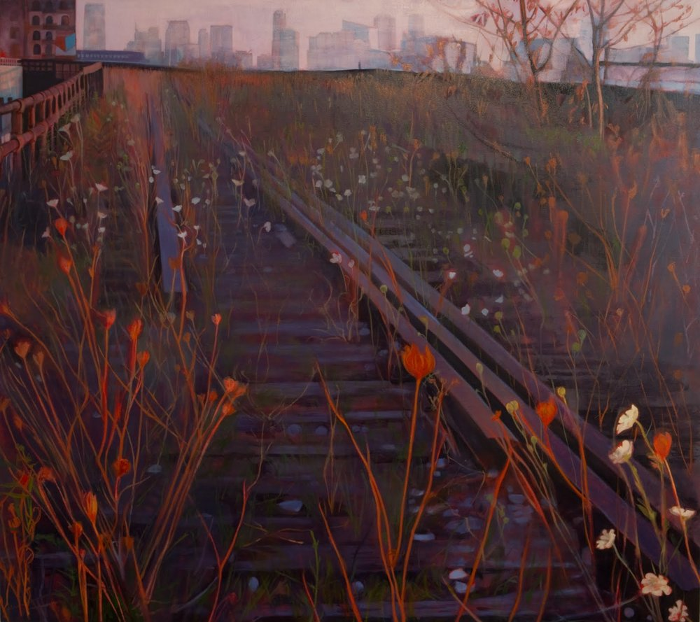 """High Line Sunset"", oil on linen, 48 x 54 x 2.5 in."