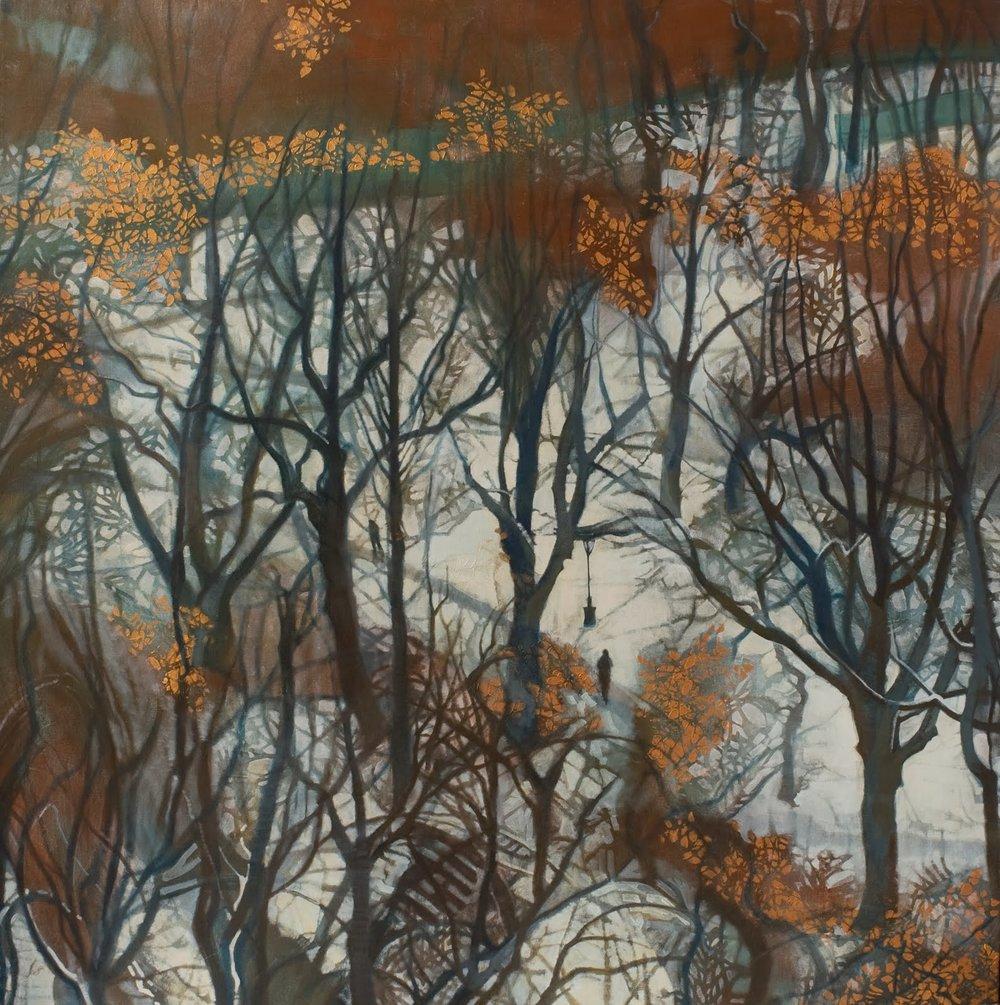 """Last November (Central Park)"", Oil on linen, 44x44x2.5 in."