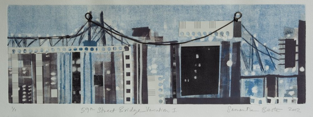 """59th Street Bridge Variation I"", monotype/collage, 12x24 in."