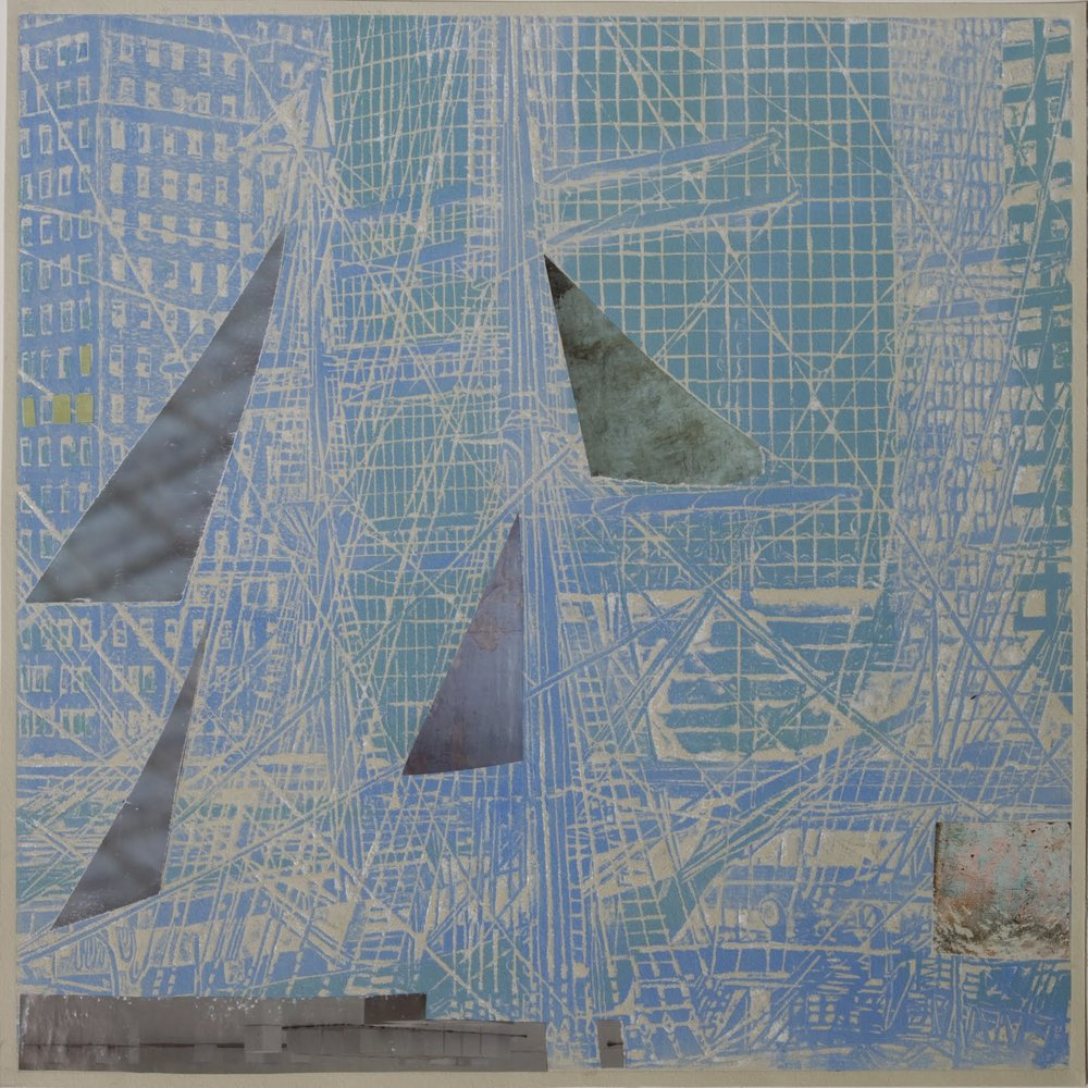 """Moored Variation I"", mixed media, 15.5x15.5 in."