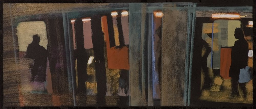 """Silhouette (Subway Platform)"", gouache on paper, 6 x 15 in."