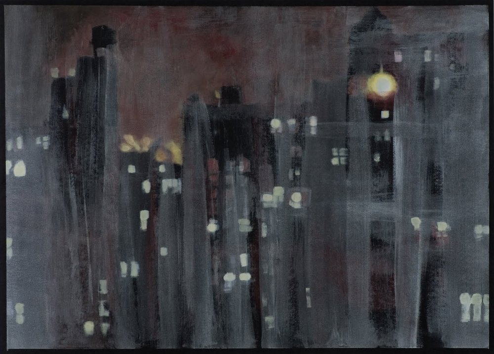 """Lincoln Towers View"", acrylic on paper, 19.5 x 27.5 in."