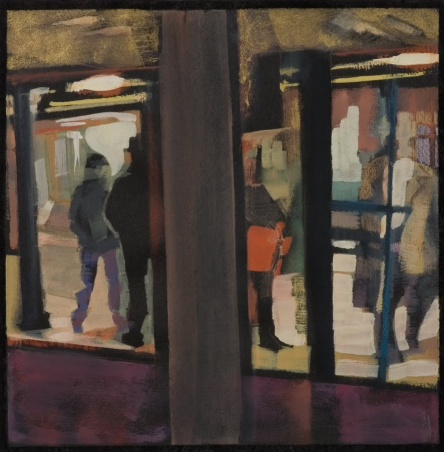 """Red Bag (Subway Platform)"", gouache on paper, 10 x 10 in."