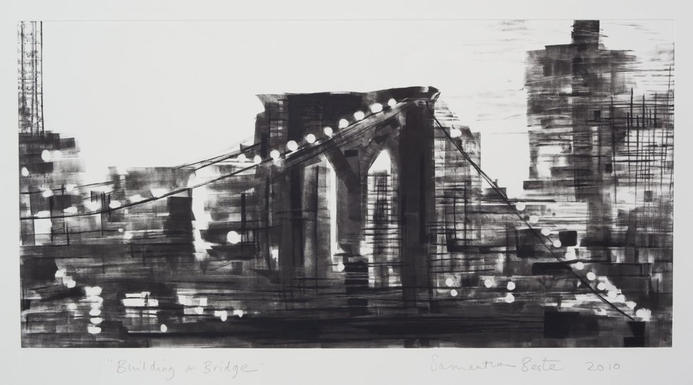 """Building a Bridge"", monotype, 12 x 24 in."