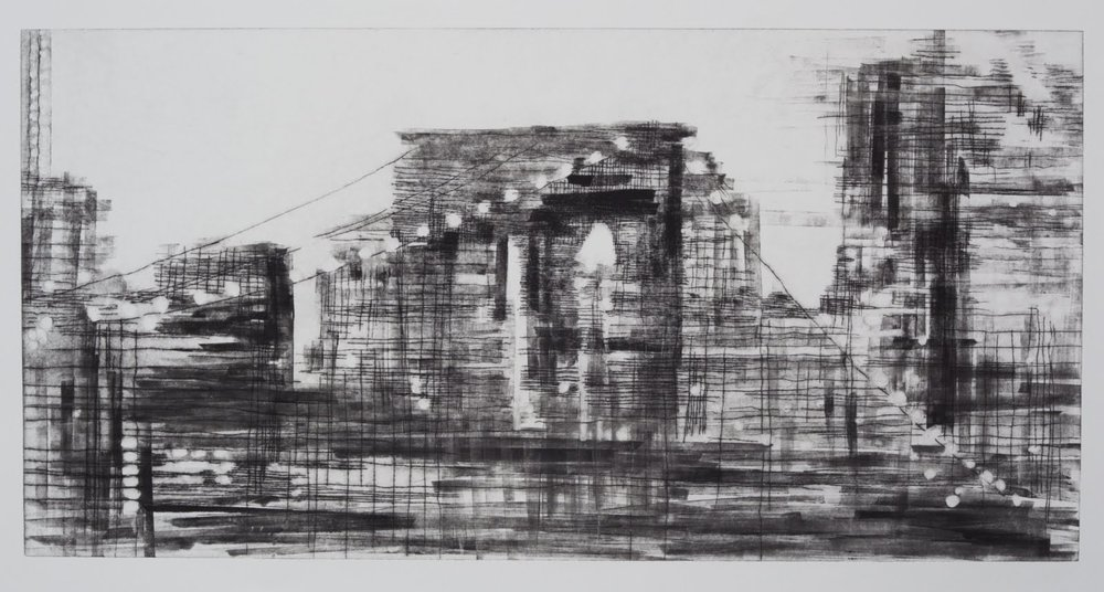 """Building a Bridge II (3/4)"", drypoint and monotype, 24 x 24 in."