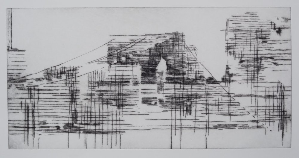 """Building a Bridge II (matrix)"", drypoint and monotype, 12 x 24 in."