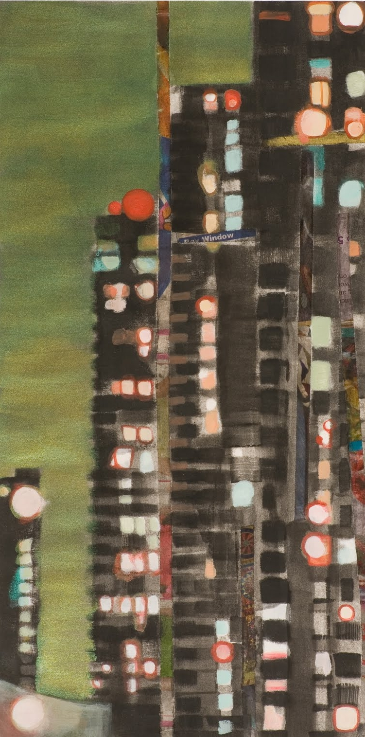 """Tower Block"", monotype and mixed media, 14 x 8 in."