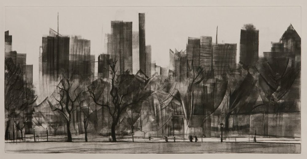 """Great Lawn (Central Park)"", monotype with charcoal, 12 x 24 in."
