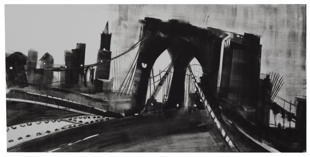 """Brooklyn Bridge Swing"", monotype, 12 x 24 in."