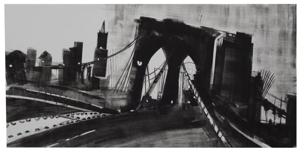"""""""Brooklyn Bridge Swing"""", monotype, 12 x 24 in."""