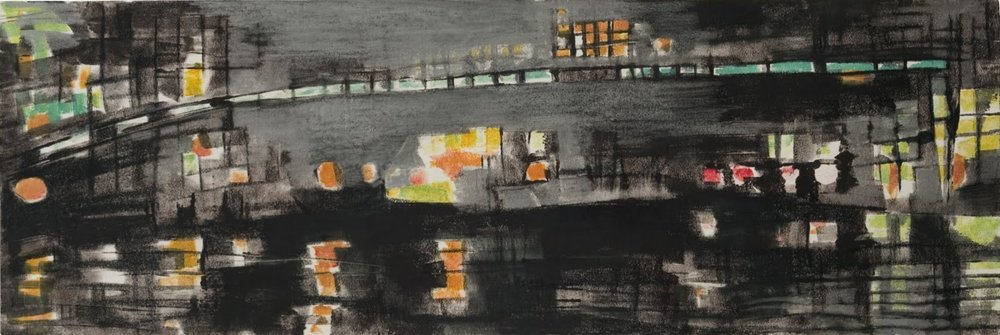 """Millennium Bridge I"", monotype and gouache, 6 x 18 in."