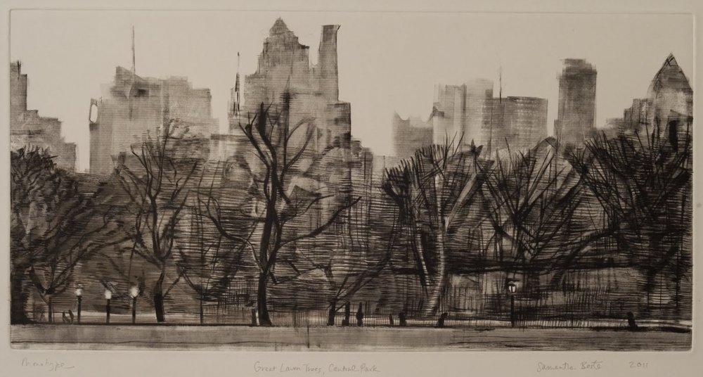 """Great Lawn Trees, Central Park"", Monotype with black ink and gouache, 12 x 23 in."