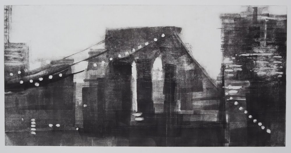 """Building a Bridge II (4/4)"", drypoint and monotype, 12 x 24 in."
